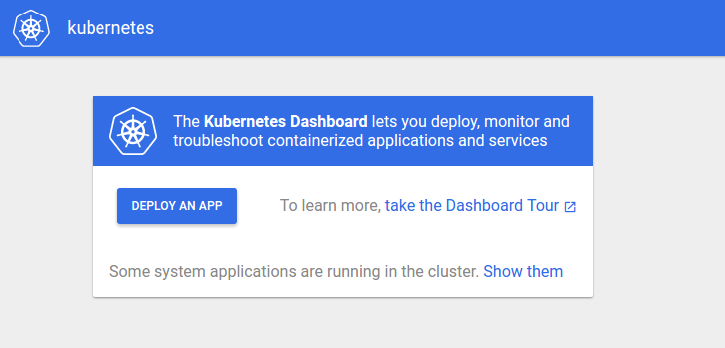 Kubernetes Dashboard welcome page